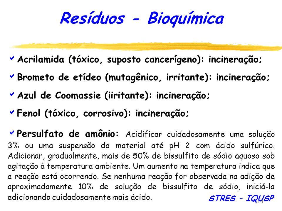 114 Resíduos - Bioquímica Acrilamida (tóxico, suposto cancerígeno): incineração; Brometo de etídeo (mutagênico, irritante): incineração; Azul de Cooma