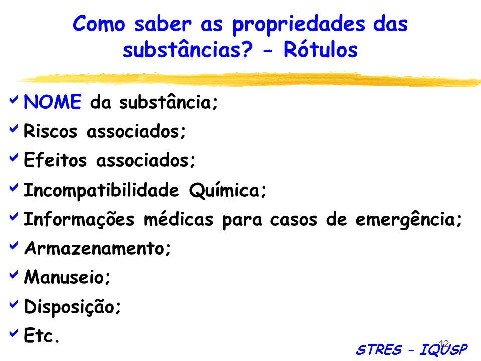 12 NOME da substância; Riscos associados; Efeitos associados; Incompatibilidade Química; Informações médicas para casos de emergência; Armazenamento;