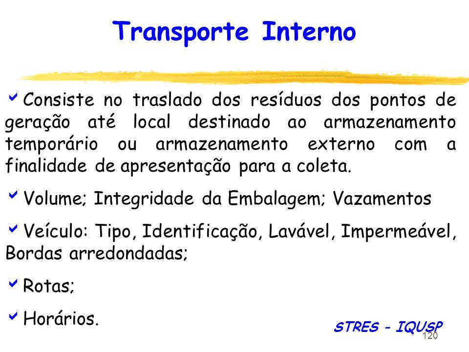 120 Transporte Interno Consiste no traslado dos resíduos dos pontos de geração até local destinado ao armazenamento temporário ou armazenamento extern