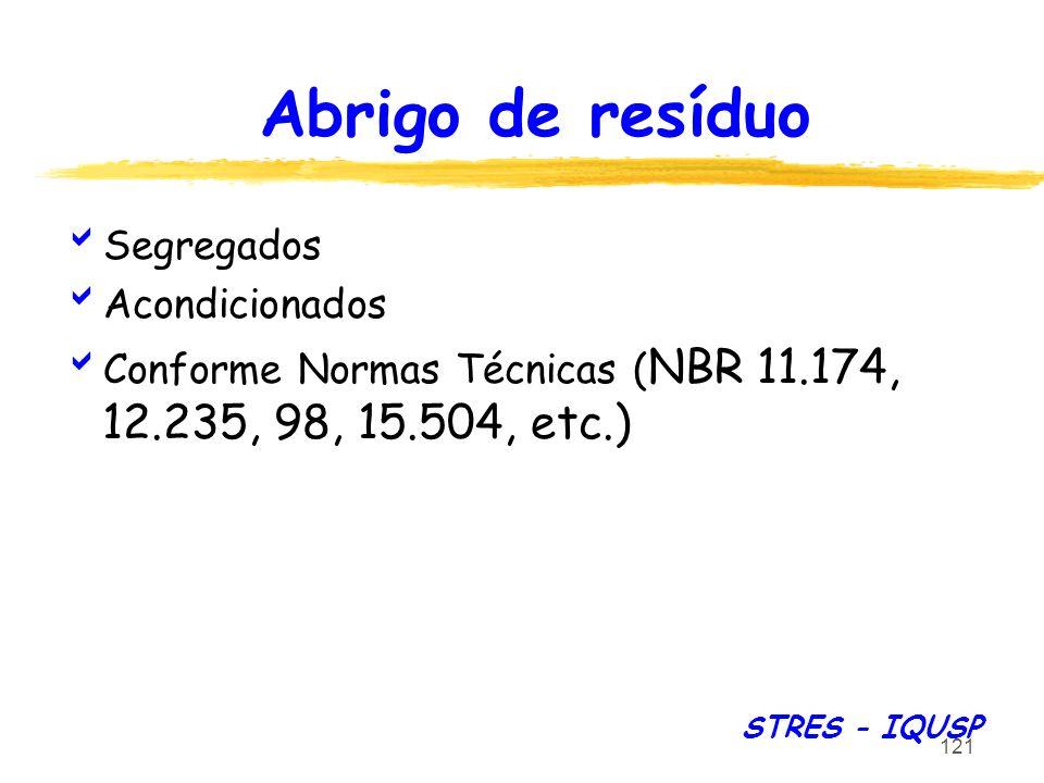 121 Abrigo de resíduo STRES - IQUSP Segregados Acondicionados Conforme Normas Técnicas ( NBR 11.174, 12.235, 98, 15.504, etc.)