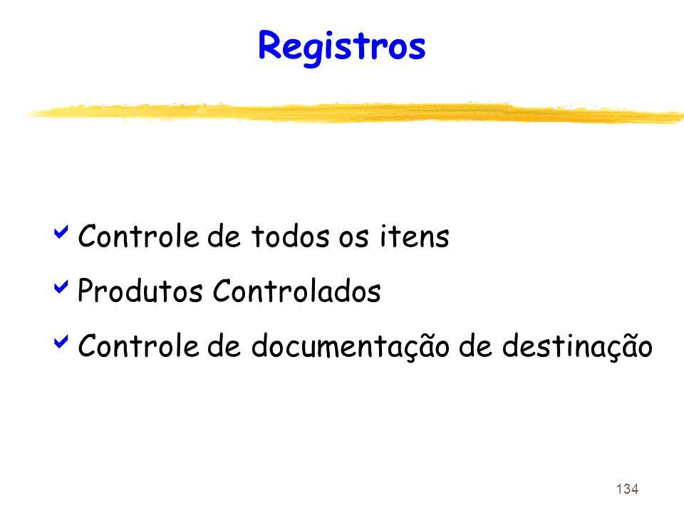 134 Registros Controle de todos os itens Produtos Controlados Controle de documentação de destinação