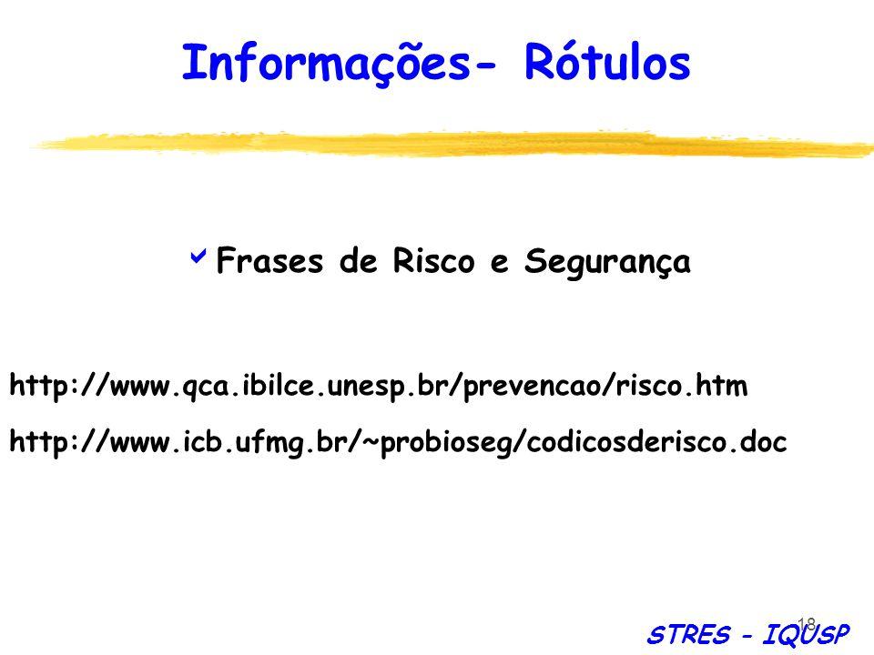 18 Frases de Risco e Segurança http://www.qca.ibilce.unesp.br/prevencao/risco.htm http://www.icb.ufmg.br/~probioseg/codicosderisco.doc Informações- Ró