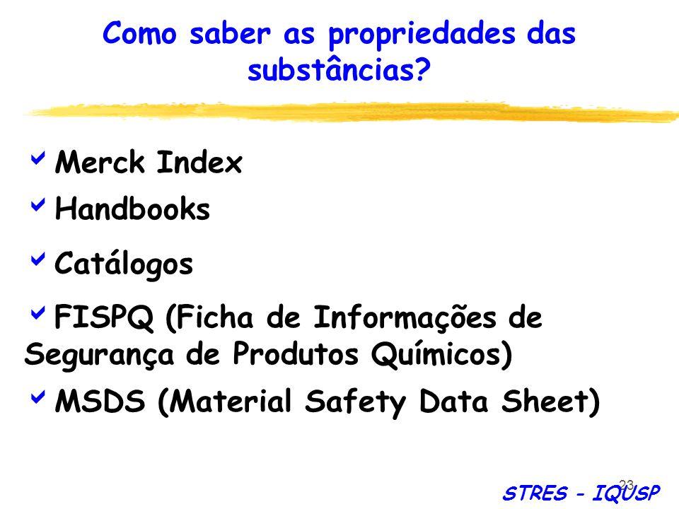 23 Merck Index Handbooks Catálogos FISPQ (Ficha de Informações de Segurança de Produtos Químicos) MSDS (Material Safety Data Sheet) Como saber as prop
