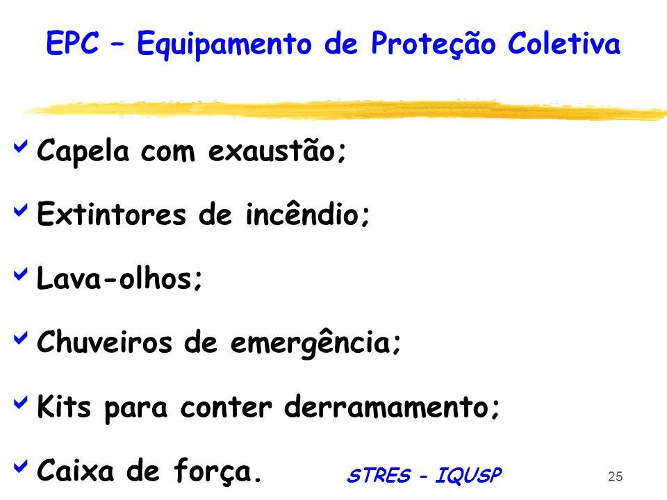 25 Capela com exaustão; Extintores de incêndio; Lava-olhos; Chuveiros de emergência; Kits para conter derramamento; Caixa de força. EPC – Equipamento