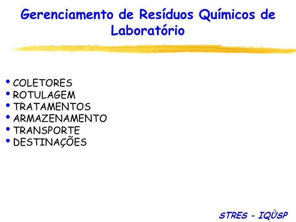 3 COLETORES ROTULAGEM TRATAMENTOS ARMAZENAMENTO TRANSPORTE DESTINAÇÕES STRES - IQUSP Gerenciamento de Resíduos Químicos de Laboratório
