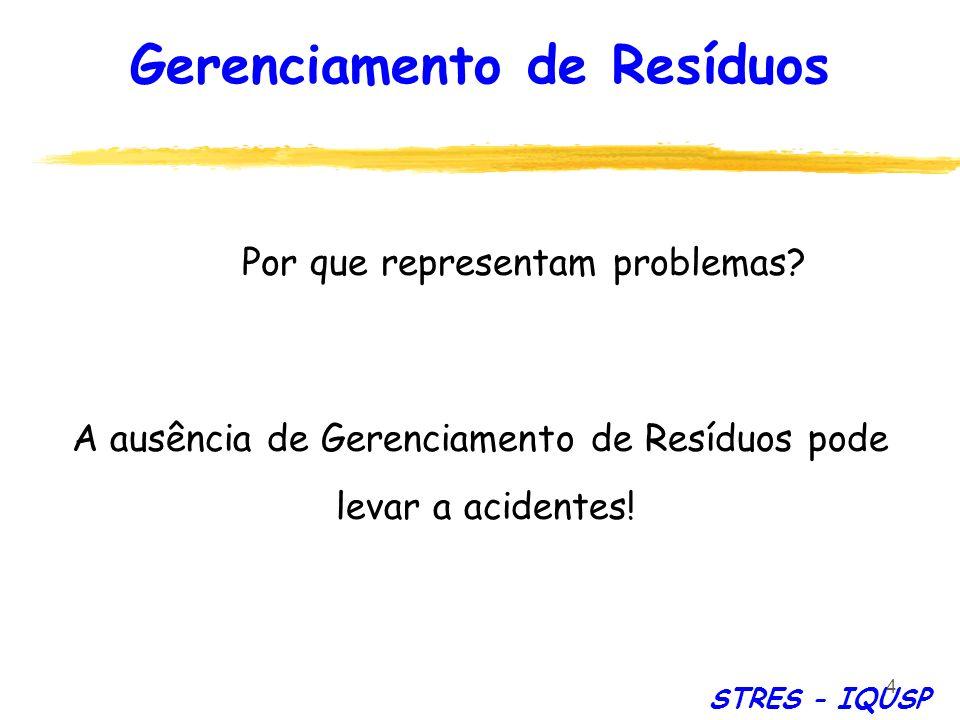 4 A ausência de Gerenciamento de Resíduos pode levar a acidentes! Por que representam problemas? STRES - IQUSP Gerenciamento de Resíduos
