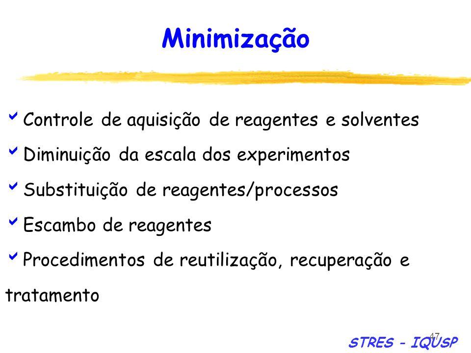47 Controle de aquisição de reagentes e solventes Diminuição da escala dos experimentos Substituição de reagentes/processos Escambo de reagentes Proce