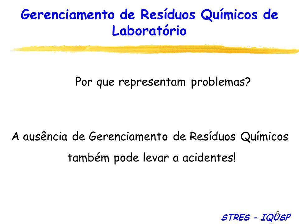 5 A ausência de Gerenciamento de Resíduos Químicos também pode levar a acidentes! Por que representam problemas? STRES - IQUSP Gerenciamento de Resídu