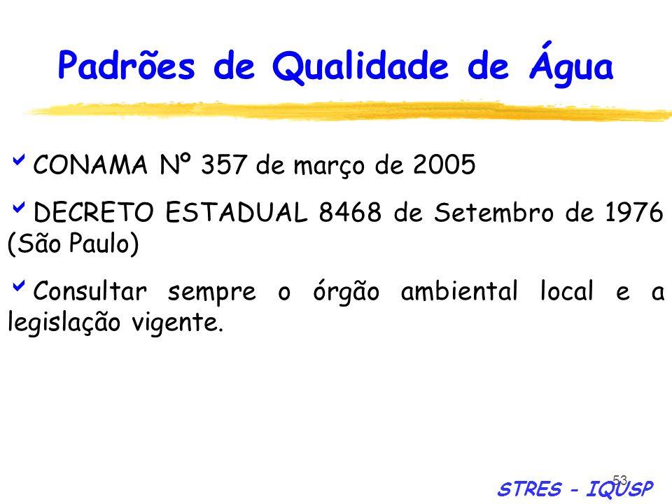 53 CONAMA Nº 357 de março de 2005 DECRETO ESTADUAL 8468 de Setembro de 1976 (São Paulo) Consultar sempre o órgão ambiental local e a legislação vigent