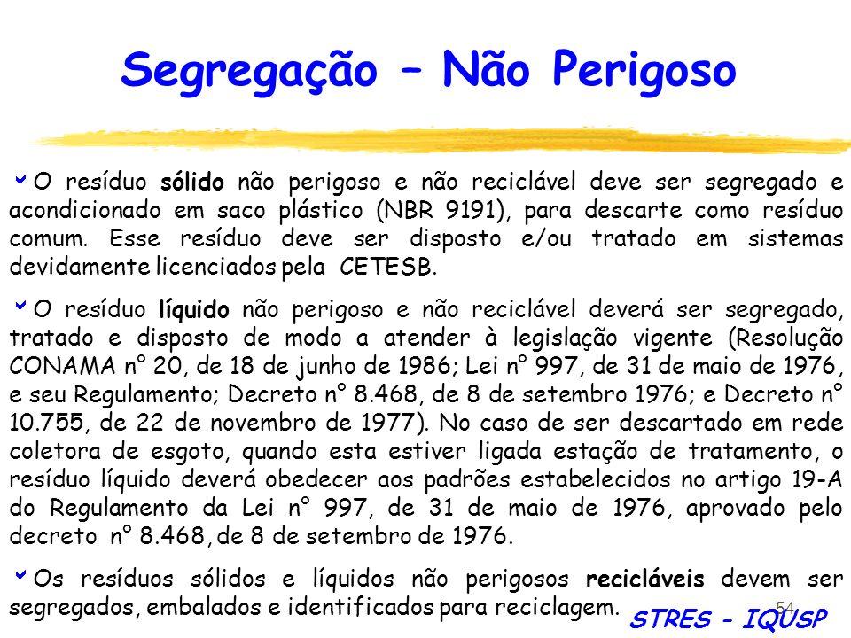 54 O resíduo sólido não perigoso e não reciclável deve ser segregado e acondicionado em saco plástico (NBR 9191), para descarte como resíduo comum. Es