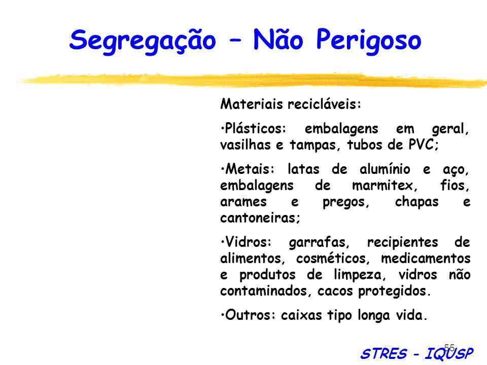 55 STRES - IQUSP Materiais recicláveis: Plásticos: embalagens em geral, vasilhas e tampas, tubos de PVC; Metais: latas de alumínio e aço, embalagens d
