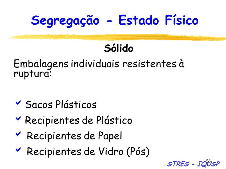 56 Sólido Embalagens individuais resistentes à ruptura: Sacos Plásticos Recipientes de Plástico Recipientes de Papel Recipientes de Vidro (Pós) Segreg