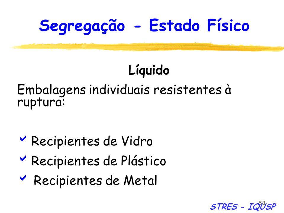 58 Líquido Embalagens individuais resistentes à ruptura: Recipientes de Vidro Recipientes de Plástico Recipientes de Metal Segregação - Estado Físico