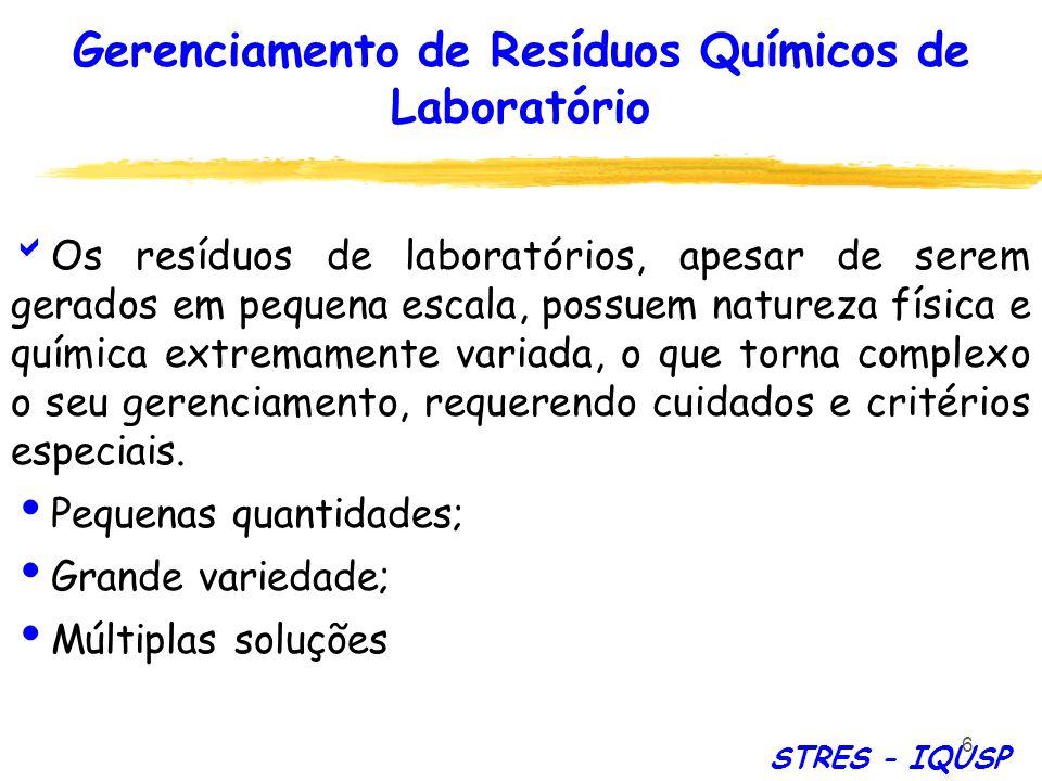 87 Destruição de resíduos químicos em laboratório Pequenas quantidades; Disponibilidade de infra-estrutura; Conhecimento detalhado da reação/processo envolvidos; STRES - IQUSP TRATAMENTO – LABORATÓRIO