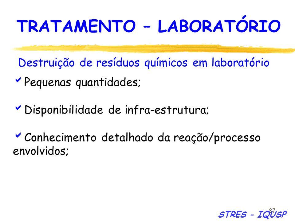 87 Destruição de resíduos químicos em laboratório Pequenas quantidades; Disponibilidade de infra-estrutura; Conhecimento detalhado da reação/processo
