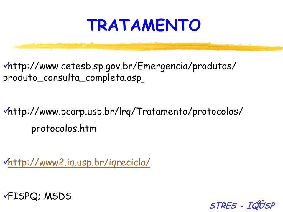 92 http://www.cetesb.sp.gov.br/Emergencia/produtos/ produto_consulta_completa.asp http://www.pcarp.usp.br/lrq/Tratamento/protocolos/ protocolos.htm ht
