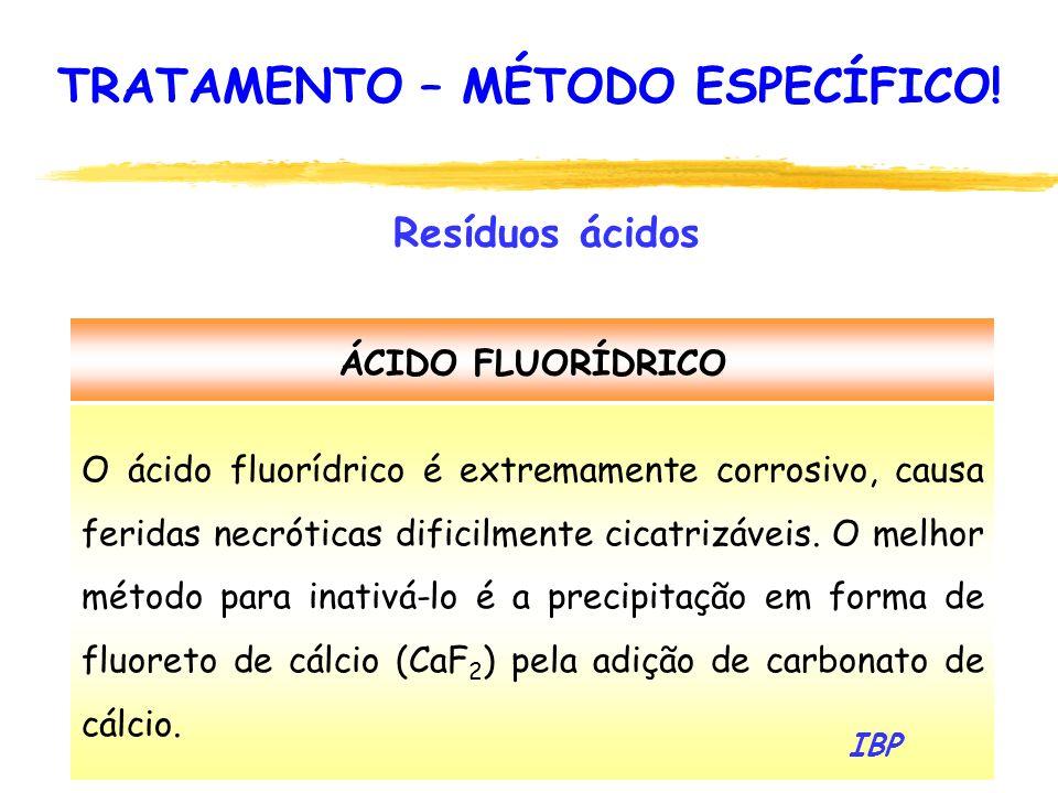 97 ÁCIDO FLUORÍDRICO O ácido fluorídrico é extremamente corrosivo, causa feridas necróticas dificilmente cicatrizáveis. O melhor método para inativá-l