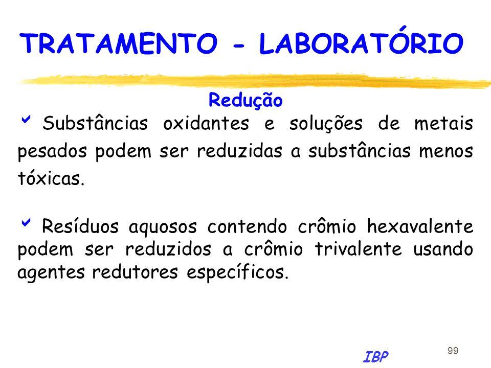 99 Redução Substâncias oxidantes e soluções de metais pesados podem ser reduzidas a substâncias menos tóxicas. Resíduos aquosos contendo crômio hexava