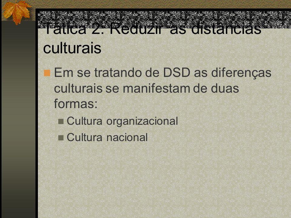 Tática 2: Reduzir as distâncias culturais Em se tratando de DSD as diferenças culturais se manifestam de duas formas: Cultura organizacional Cultura nacional