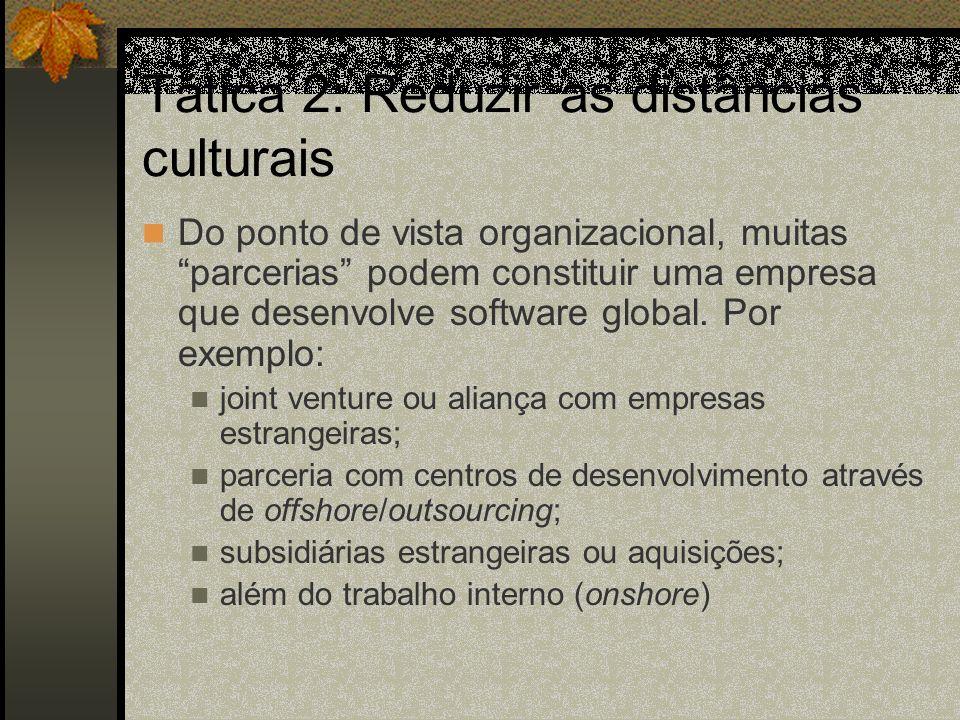 Tática 2: Reduzir as distâncias culturais Do ponto de vista organizacional, muitas parcerias podem constituir uma empresa que desenvolve software global.