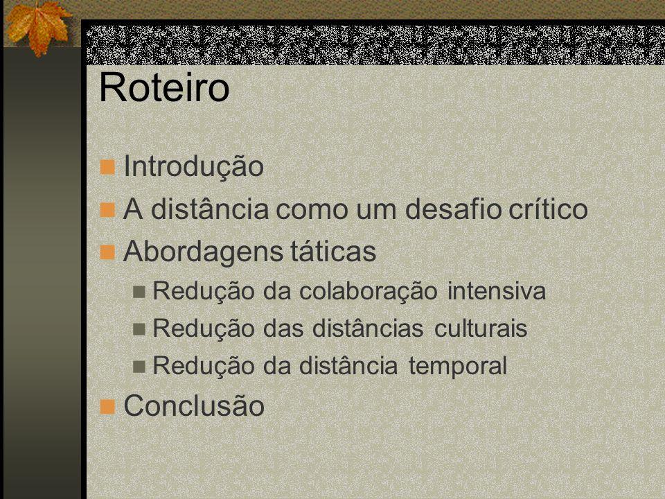 Roteiro Introdução A distância como um desafio crítico Abordagens táticas Redução da colaboração intensiva Redução das distâncias culturais Redução da
