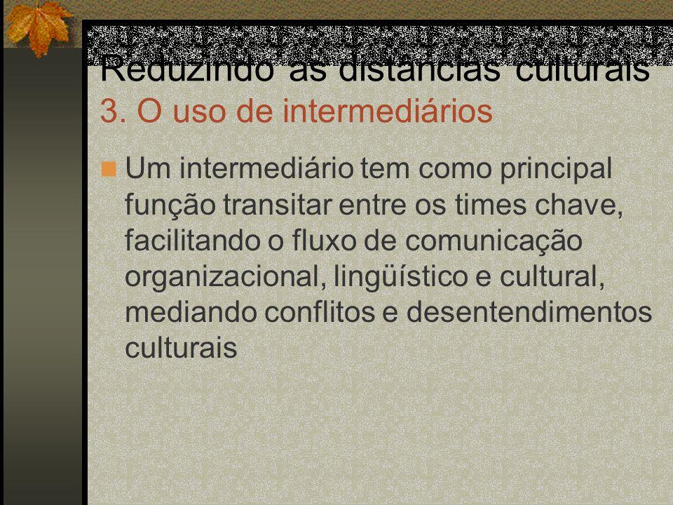 Reduzindo as distâncias culturais 3. O uso de intermediários Um intermediário tem como principal função transitar entre os times chave, facilitando o