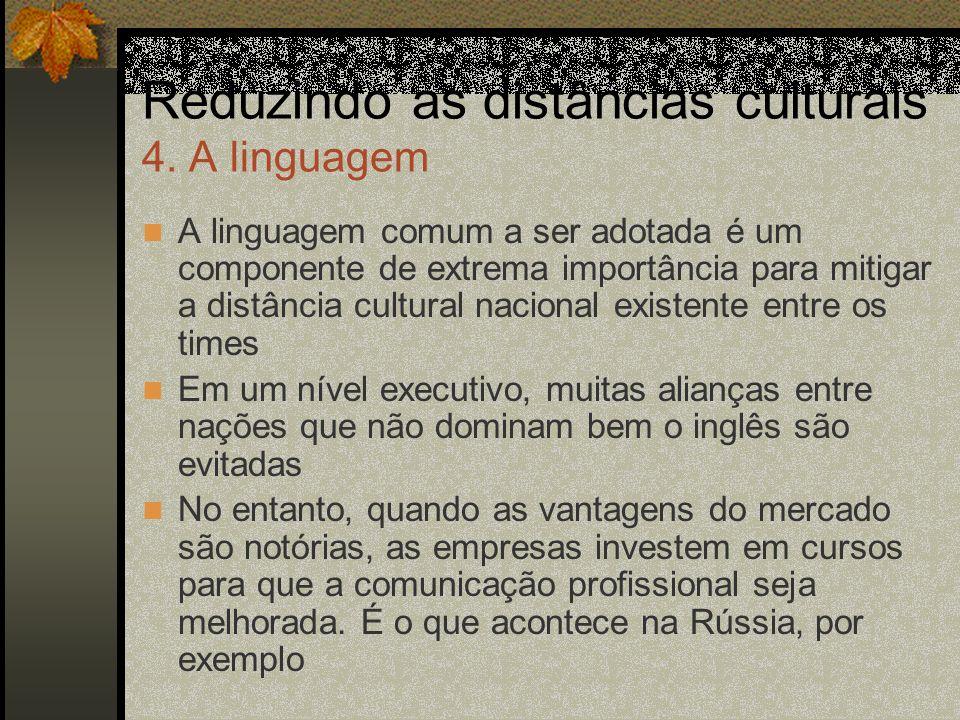Reduzindo as distâncias culturais 4. A linguagem A linguagem comum a ser adotada é um componente de extrema importância para mitigar a distância cultu