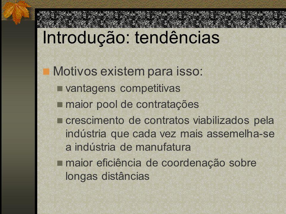 Introdução: tendências Motivos existem para isso: vantagens competitivas maior pool de contratações crescimento de contratos viabilizados pela indústr