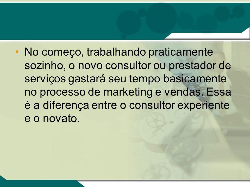 No começo, trabalhando praticamente sozinho, o novo consultor ou prestador de serviços gastará seu tempo basicamente no processo de marketing e vendas