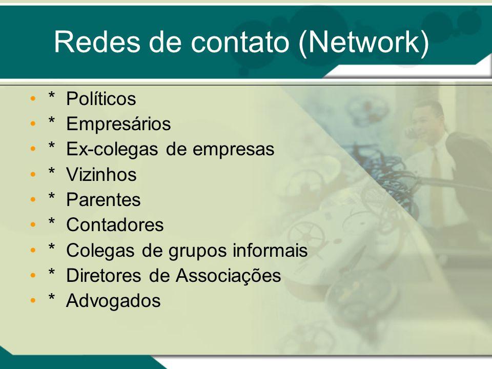Redes de contato (Network) * Políticos * Empresários * Ex-colegas de empresas * Vizinhos * Parentes * Contadores * Colegas de grupos informais * Diret