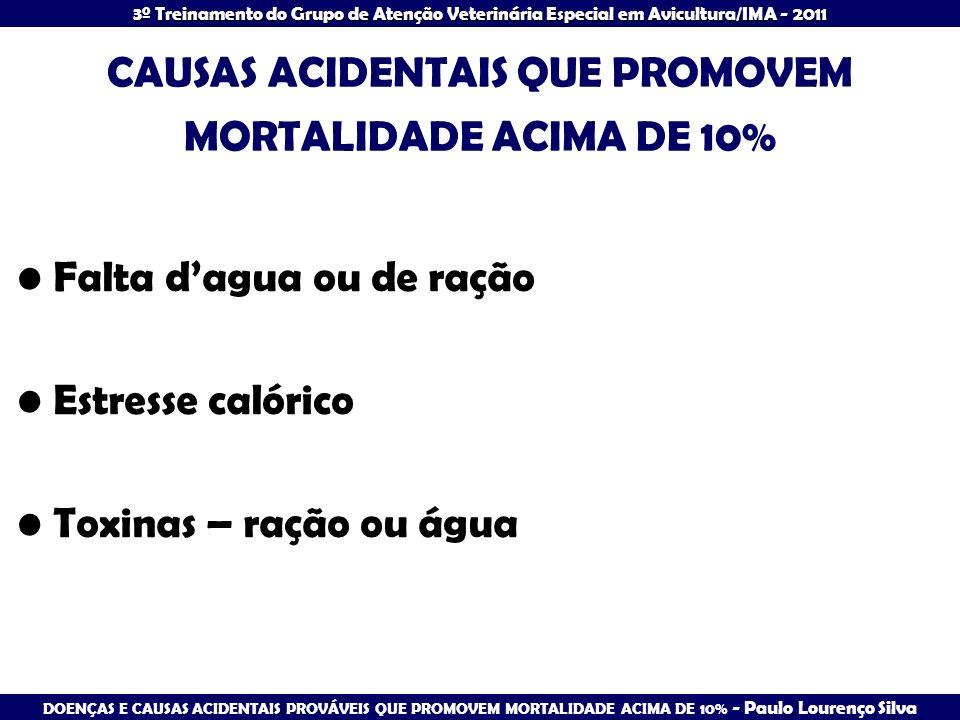 DOENÇAS E CAUSAS ACIDENTAIS PROVÁVEIS QUE PROMOVEM MORTALIDADE ACIMA DE 10% - Paulo Lourenço Silva 3º Treinamento do Grupo de Atenção Veterinária Espe