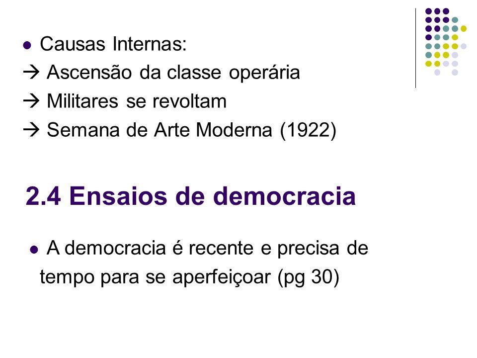 Causas Internas: Ascensão da classe operária Militares se revoltam Semana de Arte Moderna (1922) 2.4 Ensaios de democracia A democracia é recente e pr