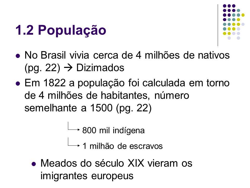 1.2 População No Brasil vivia cerca de 4 milhões de nativos (pg. 22) Dizimados Em 1822 a população foi calculada em torno de 4 milhões de habitantes,