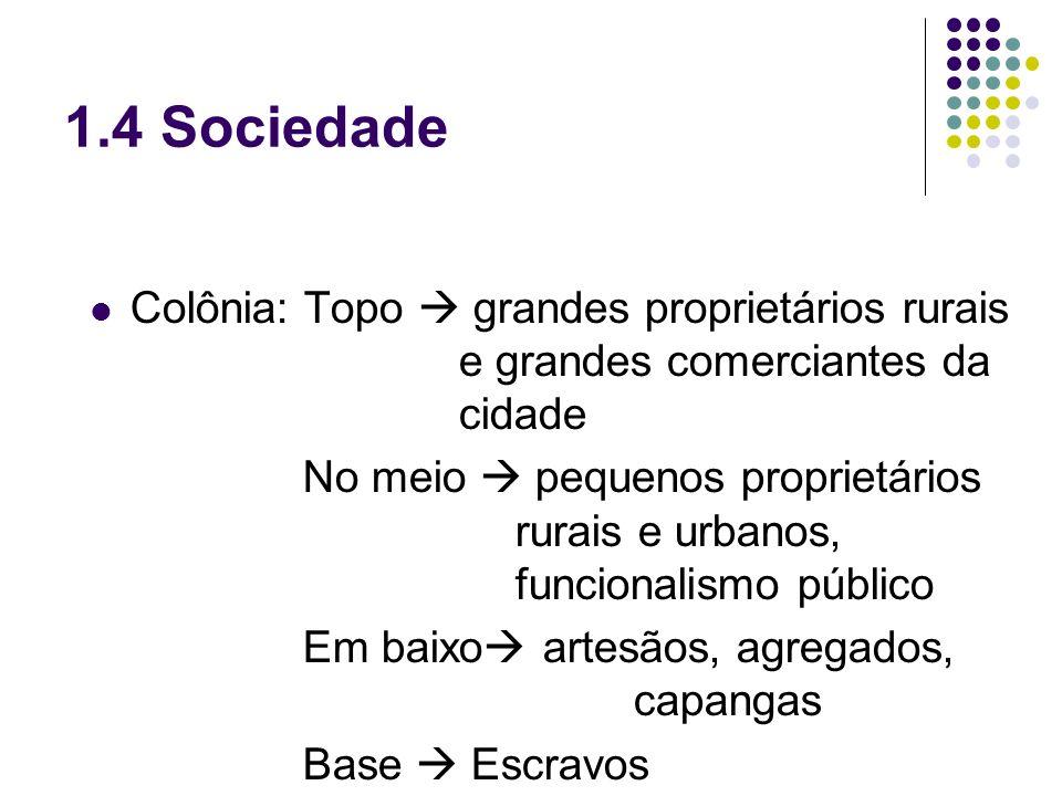 1.4 Sociedade Colônia: Topo grandes proprietários rurais e grandes comerciantes da cidade No meio pequenos proprietários rurais e urbanos, funcionalis