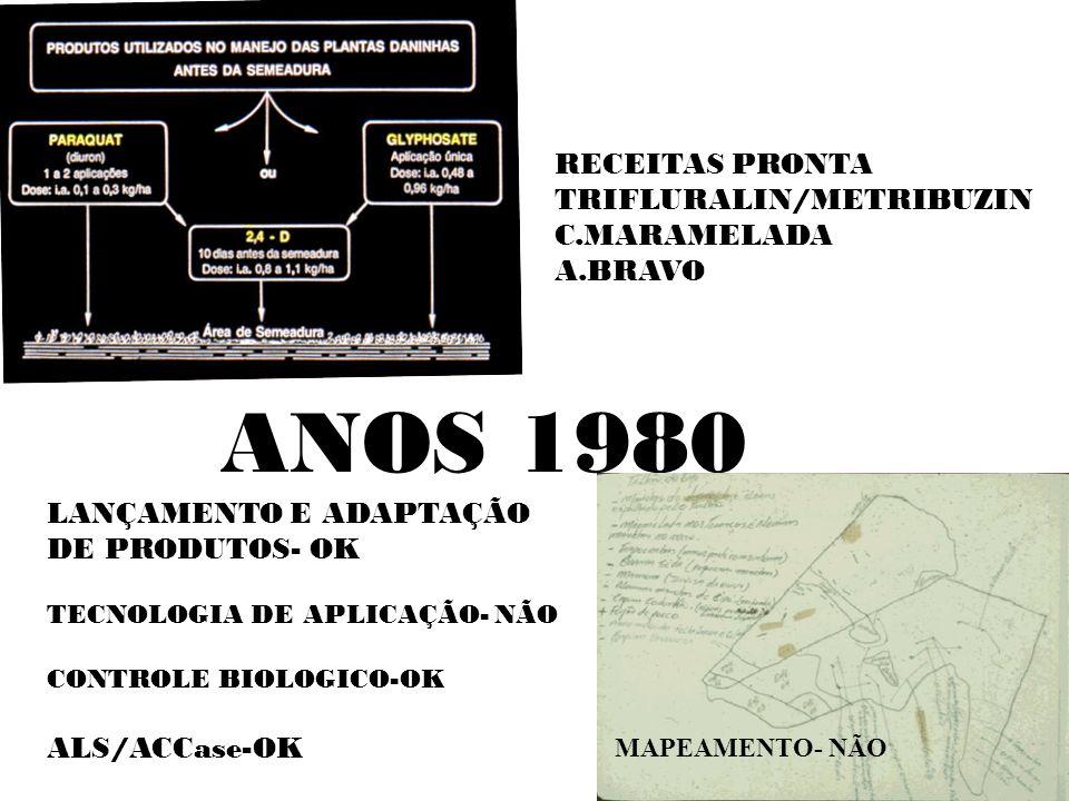 ANOS 1980 RECEITAS PRONTA TRIFLURALIN/METRIBUZIN C.MARAMELADA A.BRAVO LANÇAMENTO E ADAPTAÇÃO DE PRODUTOS- OK TECNOLOGIA DE APLICAÇÃO- NÃO CONTROLE BIO