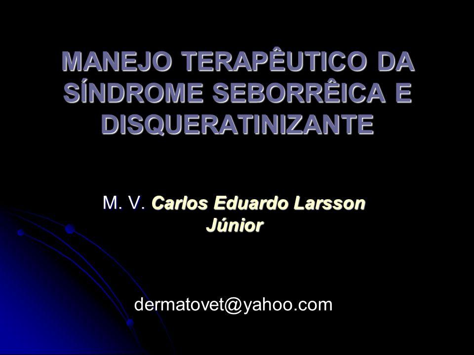 MANEJO TERAPÊUTICO DA SÍNDROME SEBORRÊICA E DISQUERATINIZANTE M. V. Carlos Eduardo Larsson Júnior dermatovet@yahoo.com
