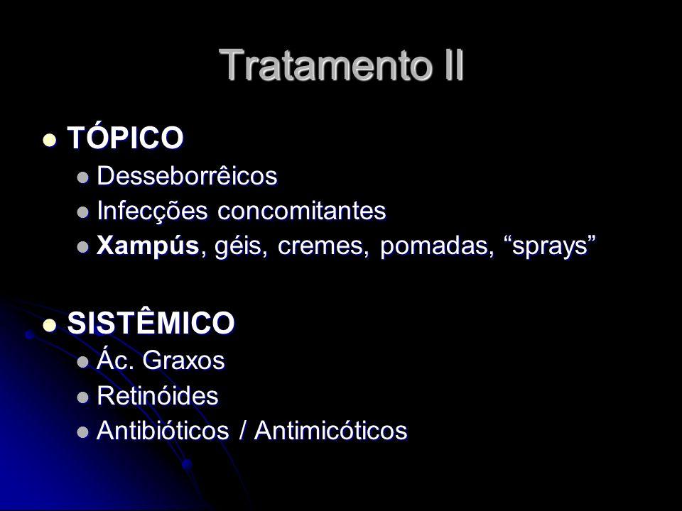 Tratamento II TÓPICO TÓPICO Desseborrêicos Desseborrêicos Infecções concomitantes Infecções concomitantes Xampús, géis, cremes, pomadas, sprays Xampús