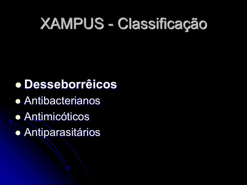 XAMPUS - Classificação Desseborrêicos Desseborrêicos Antibacterianos Antibacterianos Antimicóticos Antimicóticos Antiparasitários Antiparasitários