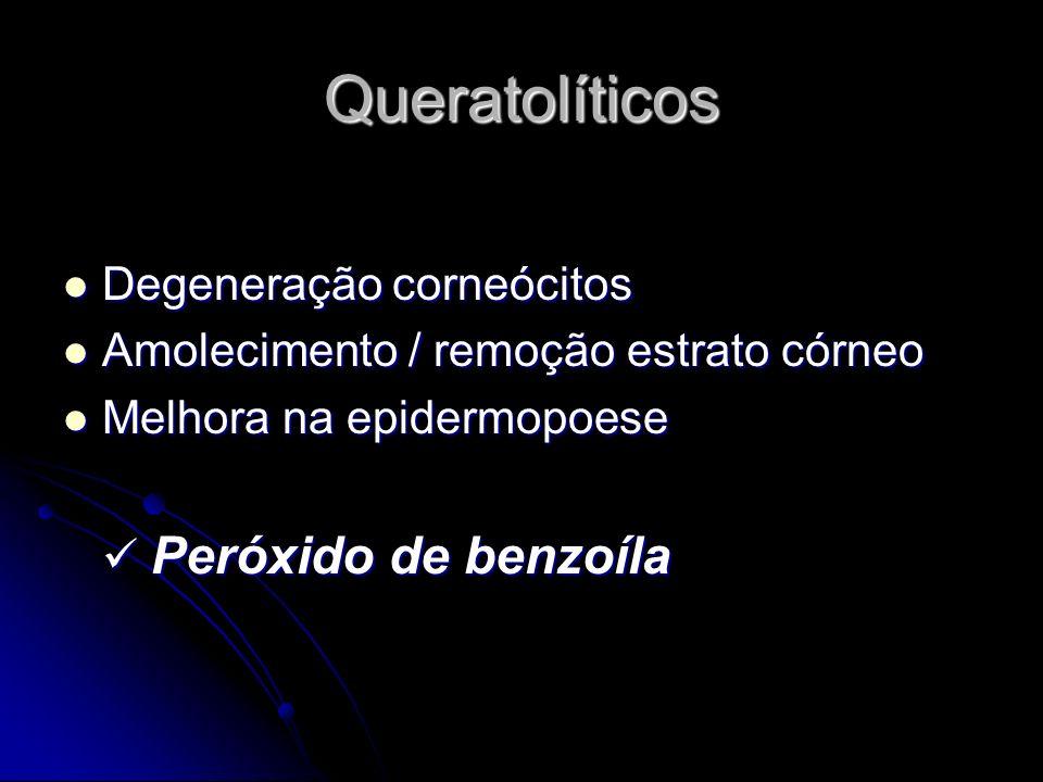Queratolíticos Degeneração corneócitos Amolecimento / remoção estrato córneo Melhora na epidermopoese Peróxido de benzoíla