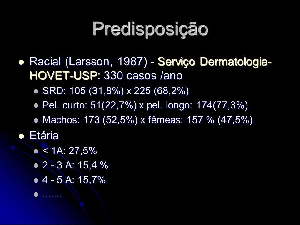 Predisposição Racial (Larsson, 1987) - Serviço Dermatologia- HOVET-USP: 330 casos /ano Racial (Larsson, 1987) - Serviço Dermatologia- HOVET-USP: 330 c