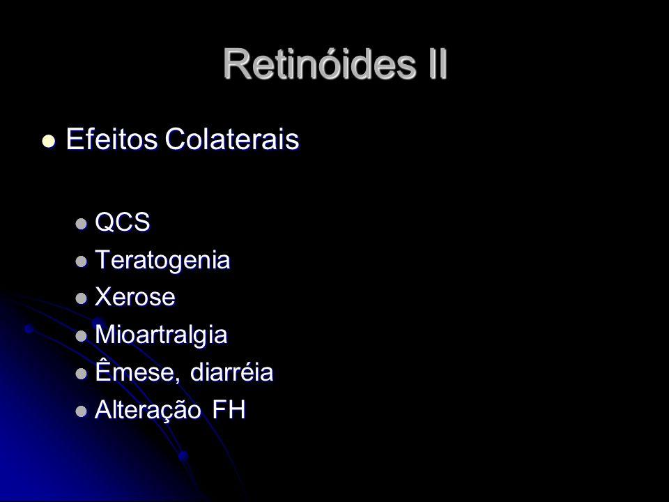 Retinóides II Efeitos Colaterais Efeitos Colaterais QCS QCS Teratogenia Teratogenia Xerose Xerose Mioartralgia Mioartralgia Êmese, diarréia Êmese, dia