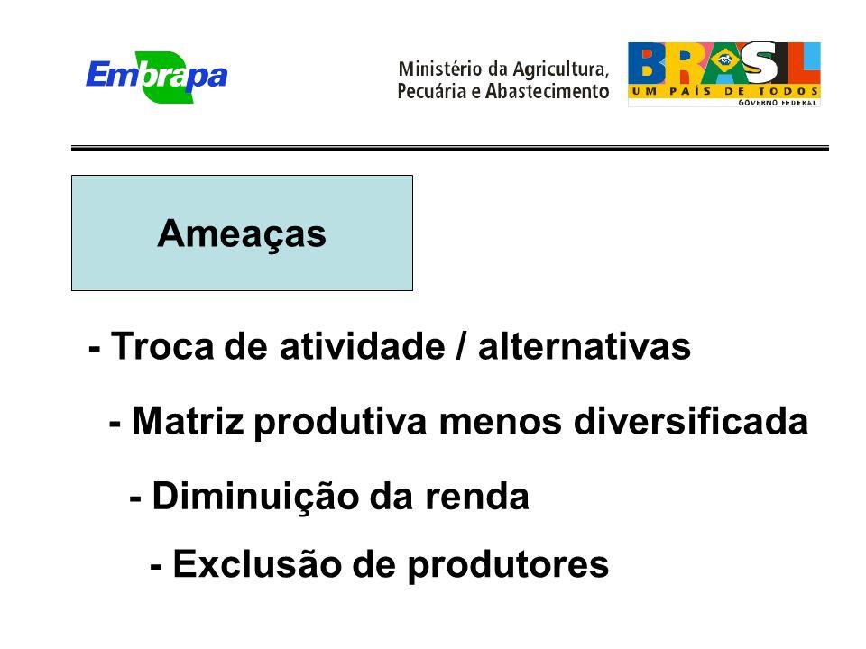 Ameaças - Exclusão de produtores - Troca de atividade / alternativas - Diminuição da renda - Matriz produtiva menos diversificada
