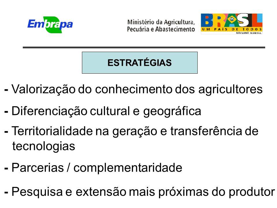 - Territorialidade na geração e transferência de tecnologias - Parcerias / complementaridade - Pesquisa e extensão mais próximas do produtor ESTRATÉGIAS - Valorização do conhecimento dos agricultores - Diferenciação cultural e geográfica