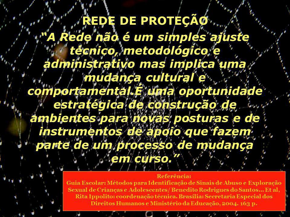 REDE DE PROTEÇÃO A Rede não é um simples ajuste técnico, metodológico e administrativo mas implica uma mudança cultural e comportamental.É uma oportun
