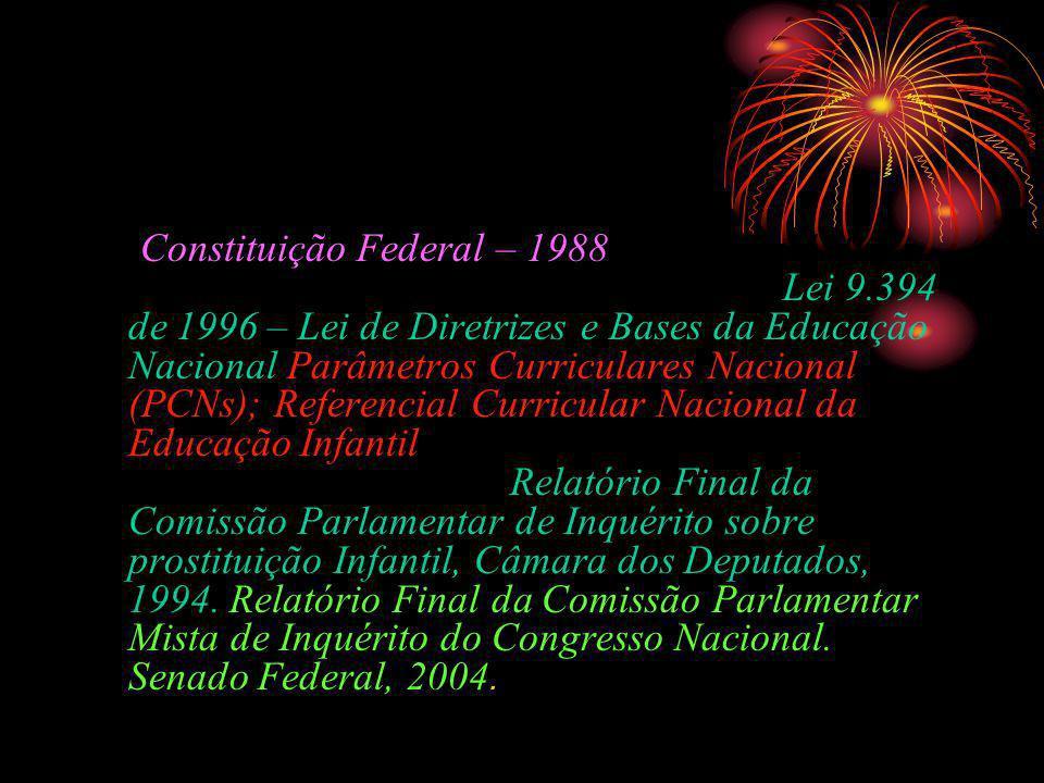 Documentos nacionais Constituição Federal – 1988Lei 8.069 – 1990 – Estatuto da Criança e do Adolescente Lei 9.394 de 1996 – Lei de Diretrizes e Bases