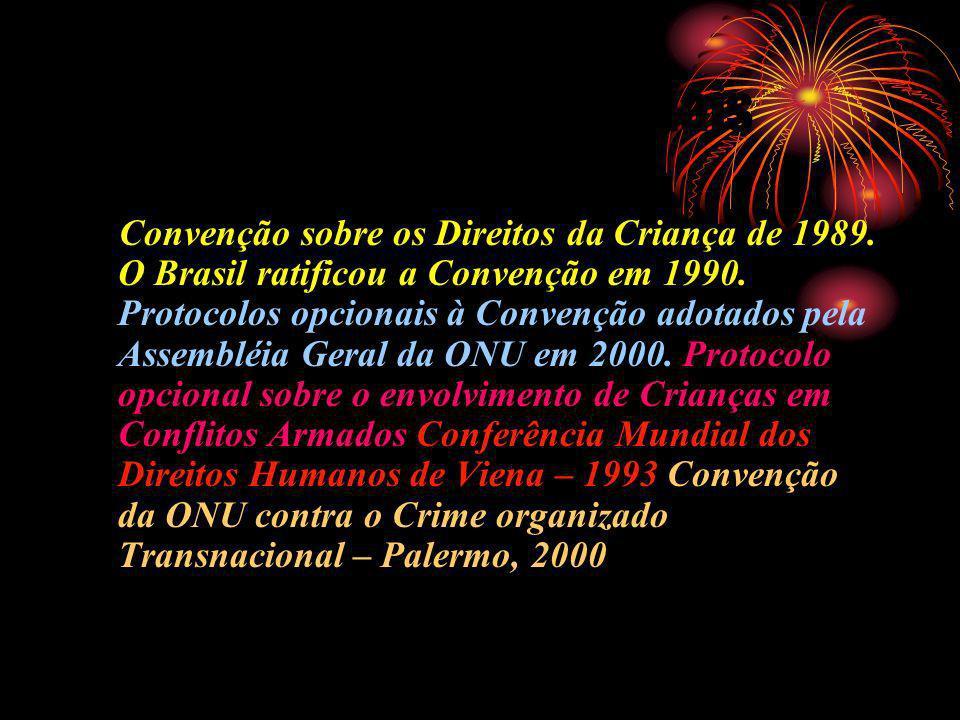 Documentos Internacionais Convenção sobre os Direitos da Criança de 1989. O Brasil ratificou a Convenção em 1990. Protocolos opcionais à Convenção ado