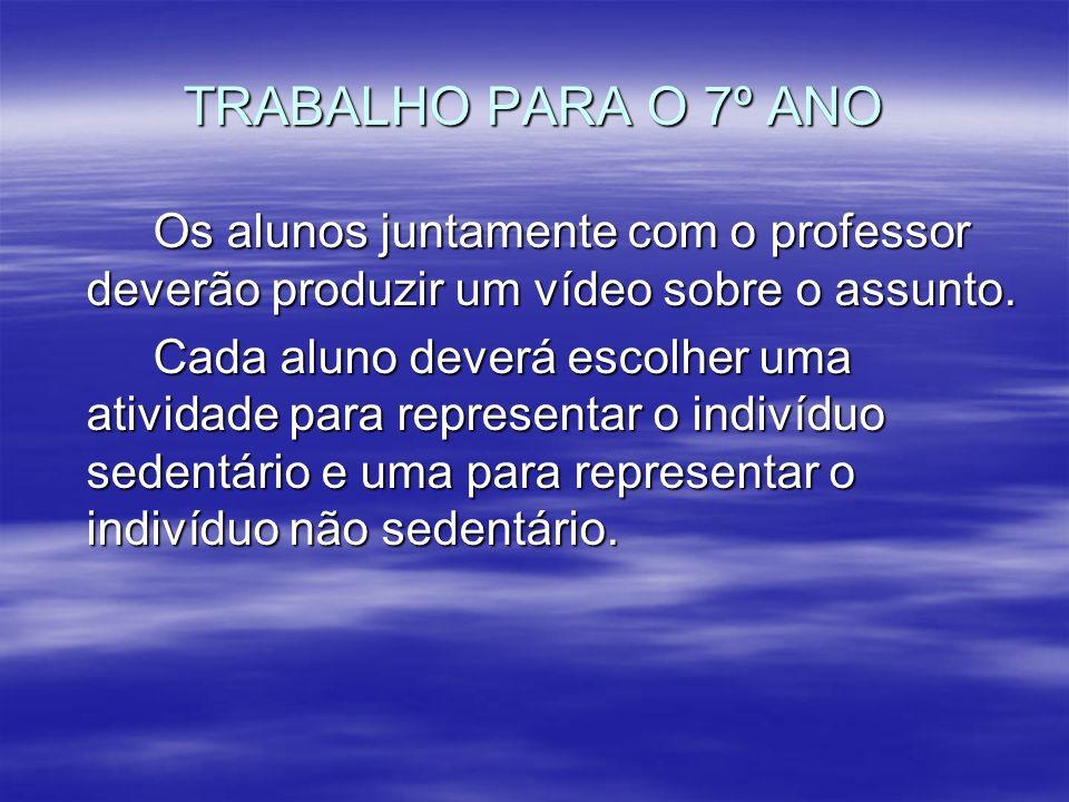 TRABALHO PARA O 7º ANO Os alunos juntamente com o professor deverão produzir um vídeo sobre o assunto. Cada aluno deverá escolher uma atividade para r