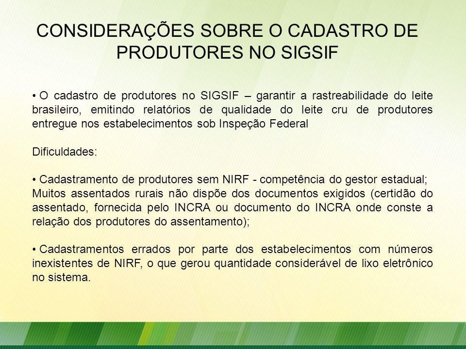O cadastro de produtores no SIGSIF – garantir a rastreabilidade do leite brasileiro, emitindo relatórios de qualidade do leite cru de produtores entre