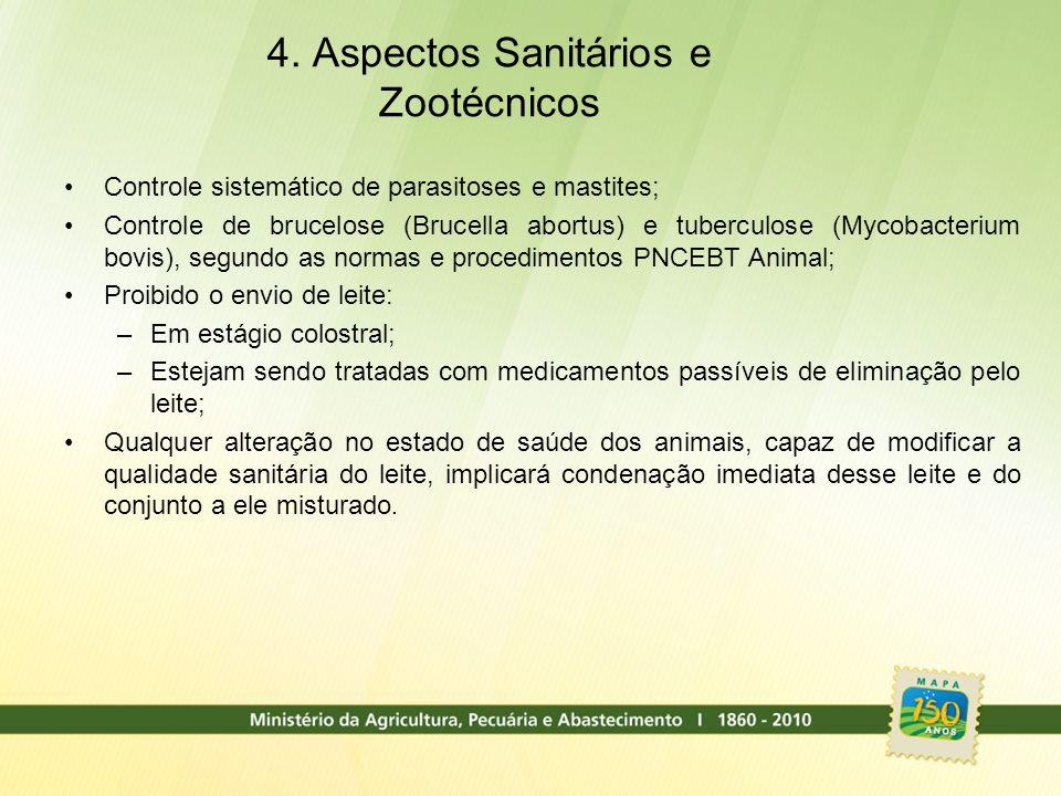4. Aspectos Sanitários e Zootécnicos Controle sistemático de parasitoses e mastites; Controle de brucelose (Brucella abortus) e tuberculose (Mycobacte