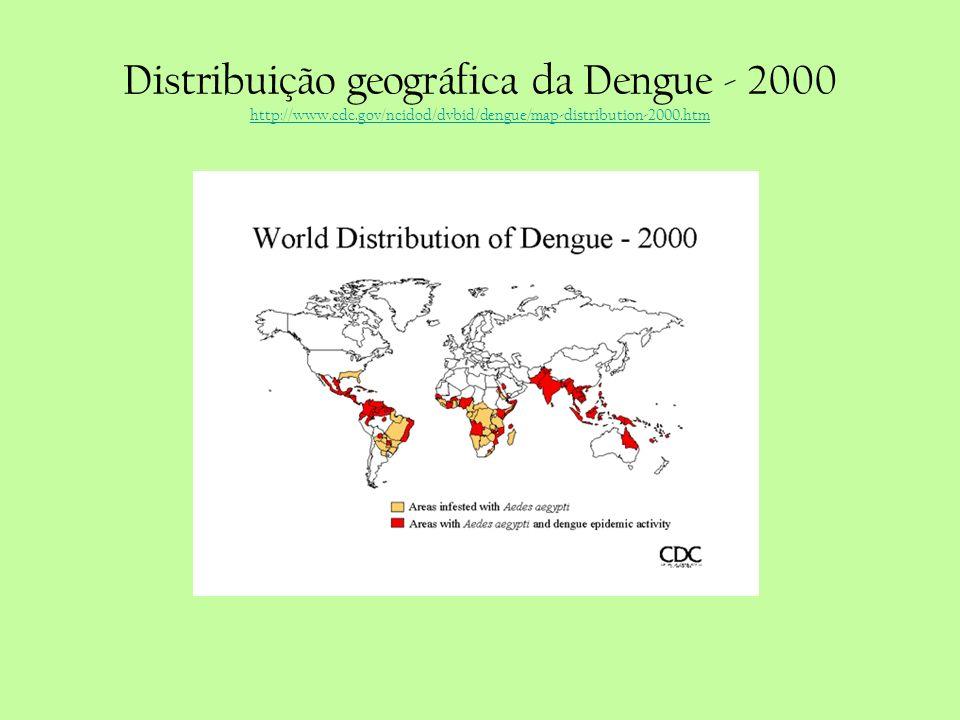 Distribuição geográfica da Dengue - 2000 http://www.cdc.gov/ncidod/dvbid/dengue/map-distribution-2000.htm http://www.cdc.gov/ncidod/dvbid/dengue/map-d